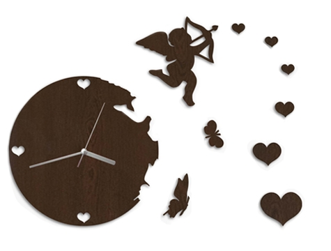 aşk meleği figürlü şık modern duvar saati modeli