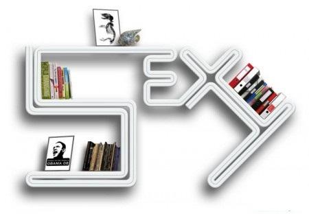 farklı tasarımlı sıradışı beyaz kitaplık modeli