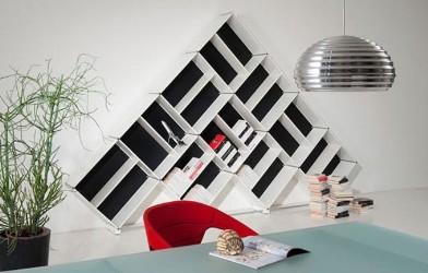 gömme dolap şeklinde modern kitaplık modeli