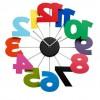 rengarenk rakamlı dekoratif duvar saati modeli
