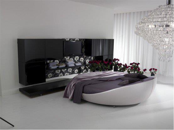 sade ve modern yuvarlak yatak odası dekorasyonu