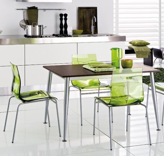 şeffaf Yeşil Sandalyeli Modern Mutfak Masası Modeli