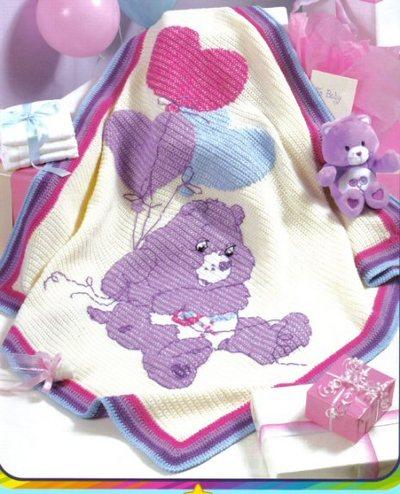 ayıcık desenli örgü bebek battaniyesi modeli