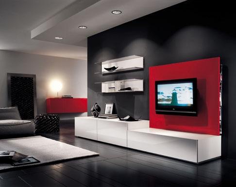 beyaz kırmızı dolaplı modern tv ünitesi modeli