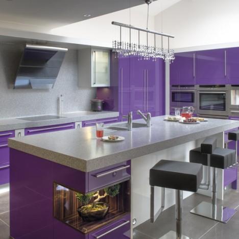 beyaz mor renkli lake modern mutfak tasarımı