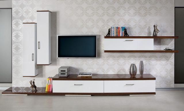 Ve Wall Panels : Beyaz sade tasarımlı modern tv ünitesi modeli