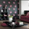 fuşya renginde koltuk ve siyah modern salon mobilyası modeli