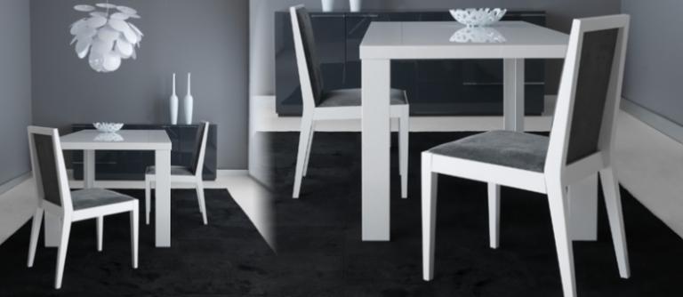 gri beyaz renkli modern yemek odası takımı modeli
