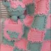 gri pembe renkli örgü bebek battaniyesi modeli
