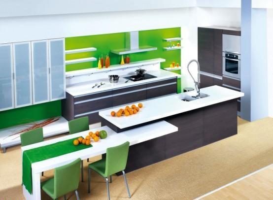 gri yeşil renkli çok şık renkli mutafk dekorasyonu