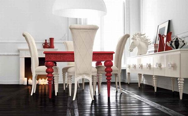 kırmızı beyaz lake yemek odası takımı modeli