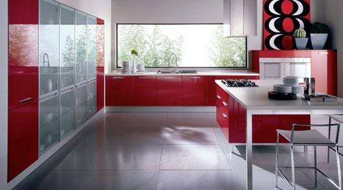 kırmızı dolaplı modern çok şık mutfak modeli