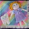 kız bebek figürlü örgü bebek battaniyesi modeli