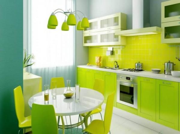 limon yeşili renkli modern mutfak dekorasyonu modeli
