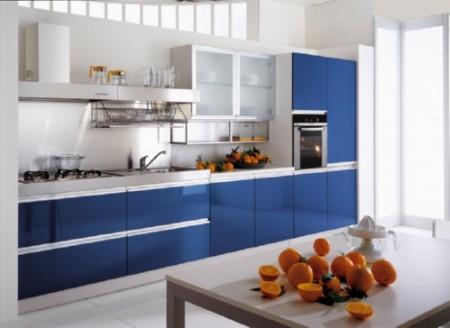 mavi renkli çok şık modern renkli mutfak tasarımı