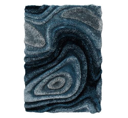 mavi renkli üç boyutlu halı modeli