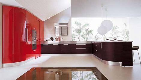 modern mutfak dolaplı kırmızı renkli mutfak dizaynı
