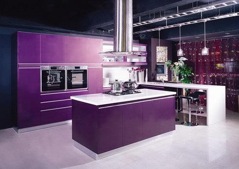 mor renkli çok şık renkli mutfak tasarımı