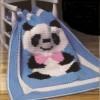panda desenli örgü bebek battaniyesi modeli