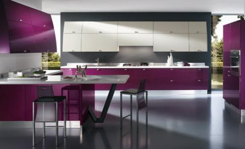 patlıcan moru renkli modern tasarımlı mutfak dekorasyonu