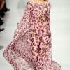 pembe leopar desenli uzun bayan elbise modeli
