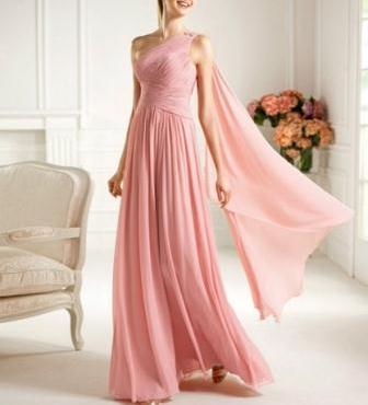 pembe renkli tek omuzlu uzun mezuniyet balosu elbise modeli - en güzel pembe renk elbise modelleri