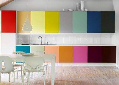 rengarenk dolap kapakları olan çok şık mutfak dizaynı