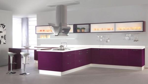 sade tasarımlı mor renkli modern mutfak tasarımı