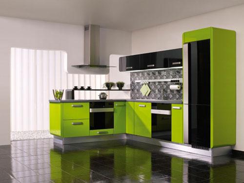 siyah yeşil renkli dolaplı modüler mutfak modeli
