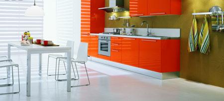 turuncu renkli modern renkli mutfak dekorasyonu modeli