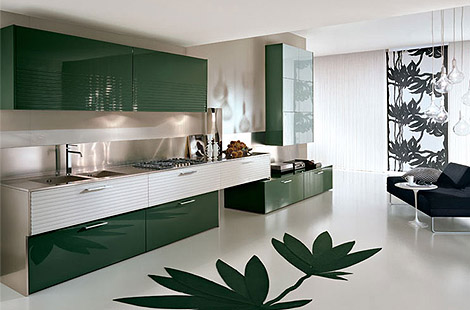 Yeşil renkli dolapları olan modern dizayn edilmiş mutfak modeli