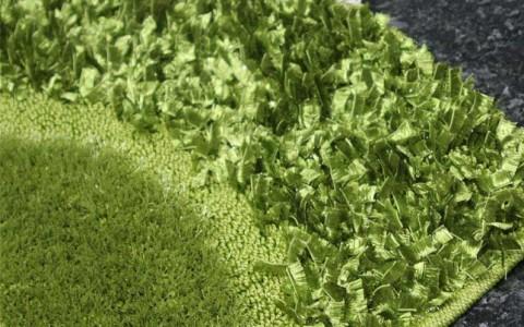 yeşil renkli simli modern shaggy halı modeli