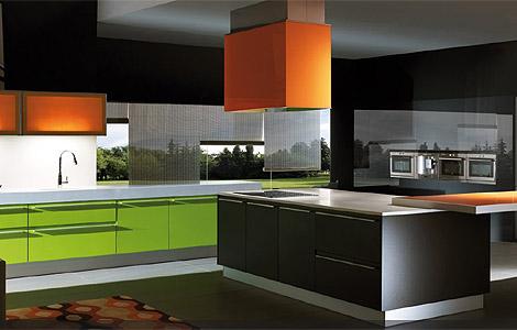 yeşil turuncu siyah renkli modern mutfak dekorasyonu modeli