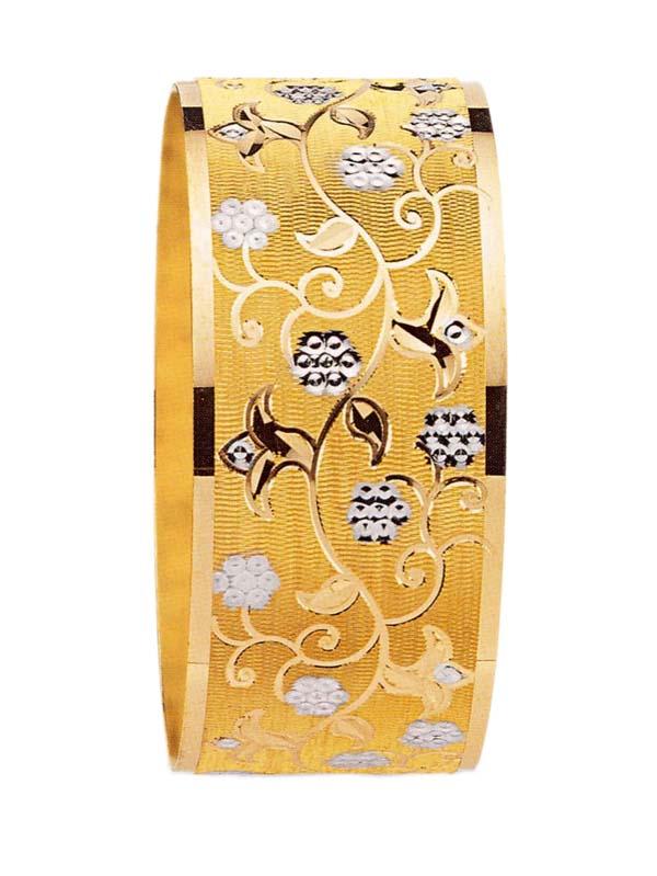 çiçek desenli çok şık altın bilezik modeli