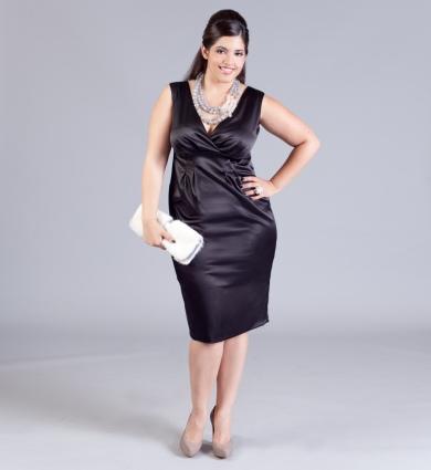 çok şık kısa lacivert büyük beden elbise modeli
