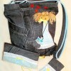 cüzdan takımlı kız figürlü kot çanta modeli