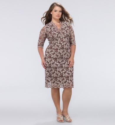 dantelli kısa büyük beden elbise modeli