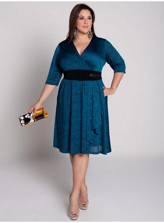 gece mavisi renkli çok şık büyük beden elbise modeli