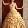 hardal sarısı renkli kabarık etekli şık nişan kıyafeti modeli