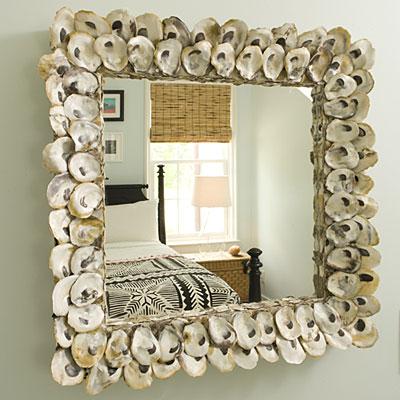 midye kabuklar ile tasarlanm dekoratif ayna modeli