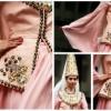pudra renkli üzeri işlemeli çok şık kına kıyafeti