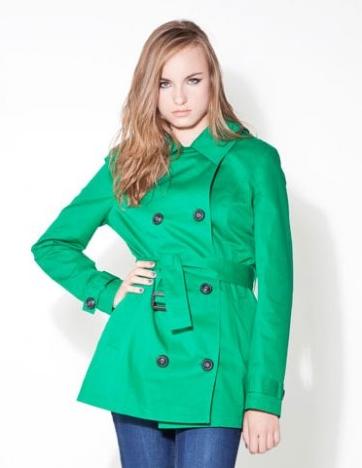 yeşil renkli kısa trençkot modeli