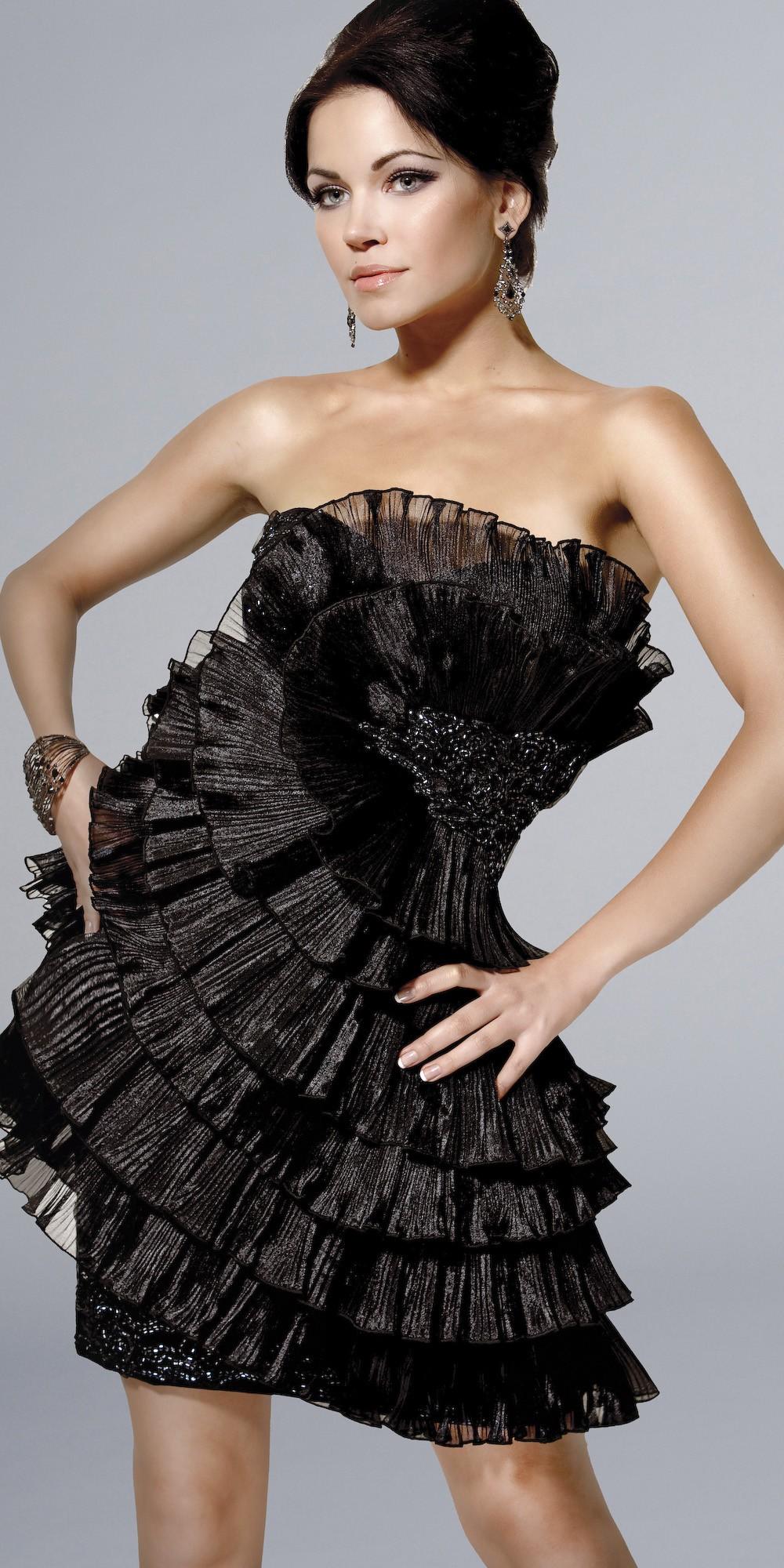 2013 kısa siyah abiye modeli
