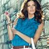 Fırfırlı Mavi Kolsuz Bayan Gömlek