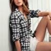 Kareli Siyah Uzun Bayan Gömlek
