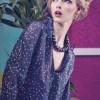 Lacivert Puantiyeli Bayan Gömlek Modeli