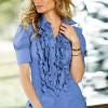 Mavi Fırfırlı Gömlek Modeli