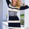 Siyah Beyaz Çizgili Dantel Detaylı 2013 Kışlık Elbise