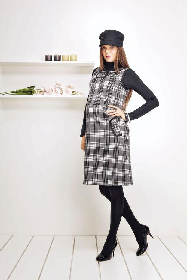 b7c1197a34a94 ekoseli şık kışlık hamile elbisesi modeli