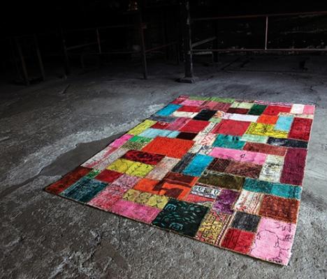 patchwork desenli şık halı modeli